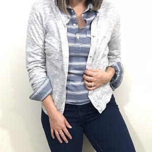 LOFT Heathered Grey Button Cardigan